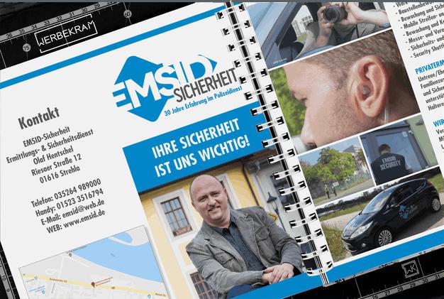 Flyer von EMSID Sicherheit Strehla Werbekram