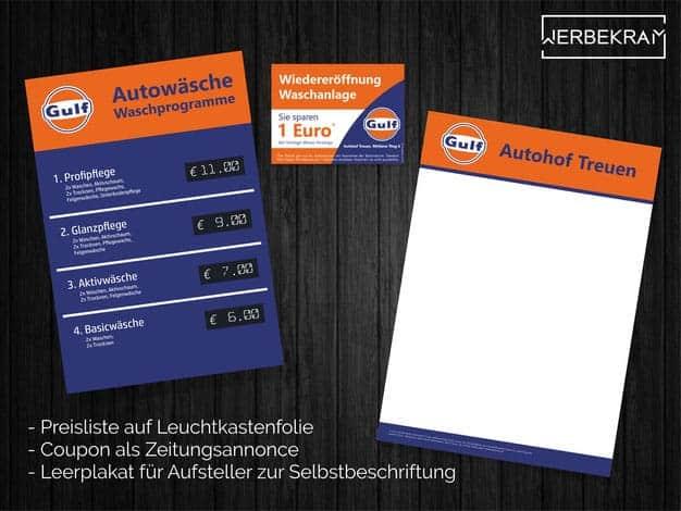 Preisliste Annonce und Plakate von GULF Treuen Werbekram